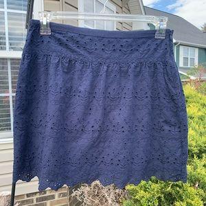 Max Studio Navy Eyelet Skirt Fully Lined - size 10